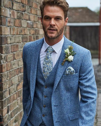Impeccable Formal Wear Light blue tweed suit