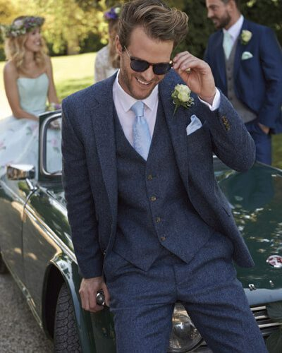 Impeccable Formal Wear Wedding Navy Tweet Suit