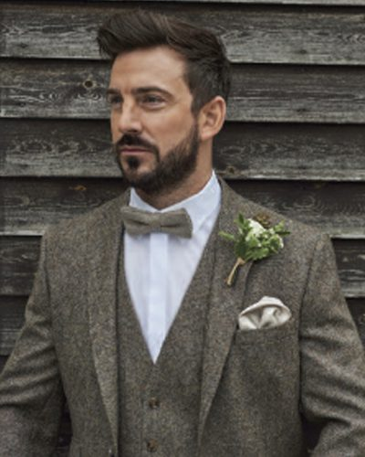 Impeccable Formal Wear Wedding Suit Brown Tweed Suit