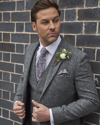 Impeccable Formal Wear Wedding Suit Grey Tweed Suit