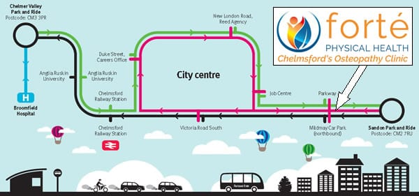 Chelmsford Park and Ride Map
