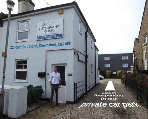 Free parking at our Chelmsford osteopathy clinic
